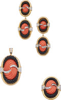 Estate Jewelry:Suites, Coral, Black Onyx, Diamond, Gold Jewelry Suite. ... (Total: 3 Items)