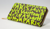 Stephen Sprouse (1953-2004) Louis Vuitton Limited Edition Green Monogram Graffiti Canvas Zippy Wallet