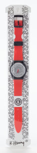 Other:Contemporary, Keith Haring X Swatch. Wrist Watch (Red). 9-1/8 inches (23.2cm). Edition of 10,000. This watch comes in the original ...