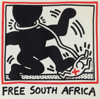 After Keith Haring (1958-1990) Free South Africa, 1985 Offset lithograph in colors 48 x 48 inches