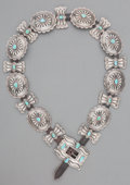 American Indian Art:Jewelry and Silverwork, A Navajo Silver and Turquoise Concho Belt. c. 1960...