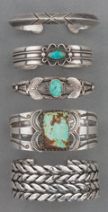 American Indian Art:Jewelry and Silverwork, Five Navajo Silver Bracelets. c. 1940 - 1960... (Total: 5 Items)