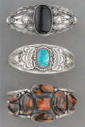 American Indian Art:Jewelry and Silverwork, Three Navajo Silver and Stone Bracelets. c. 1990... (Total: 3Items)