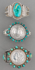 American Indian Art:Jewelry and Silverwork, Three Navajo Silver and Turquoise Bracelets. c. 1990... (Total: 3Items)