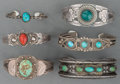 American Indian Art:Jewelry and Silverwork, Six Navajo Silver and Stone Bracelets. c. 1930... (Total: 6 Items)