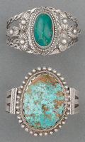 American Indian Art:Jewelry and Silverwork, Two Navajo Silver and Turquoise Bracelets. c. 1930... (Total: 2Items)