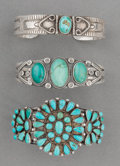American Indian Art:Jewelry and Silverwork, Three Navajo Silver and Turquoise Bracelets. c. 1930... (Total: 2Items)