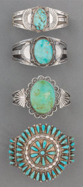 American Indian Art:Jewelry and Silverwork, Four Navajo Silver and Turquoise Bracelets. c. 1940... (Total: 4Items)