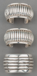 American Indian Art:Jewelry and Silverwork, Three Southwest Silver Cuff Bracelets . c. 1980... (Total: 3 Items)