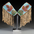 American Indian Art:Beadwork and Quillwork, A Pair of Plateau Beaded and Fringed Hide Cuffs. c. 1900...