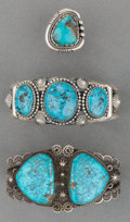 American Indian Art:Jewelry and Silverwork, Three Navajo Silver and Turquoise Items. c. 1940 - 2000... (Total:3 Items)