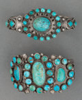 American Indian Art:Jewelry and Silverwork, Two Navajo Silver and Turquoise Cluster Bracelets. c. 1930...(Total: 2 Items)