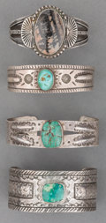 American Indian Art:Jewelry and Silverwork, Four Navajo Silver and Stone Bracelets. c. 1930 - 1990... (Total: 4Items)