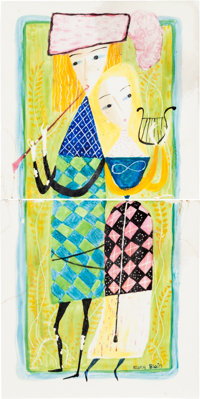 Mary Blair - Painted Art Tiles Set of 2 (c. 1950s-60s).... (Total: 2 )