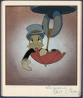 Animation Art:Production Cel, Pinocchio Jiminy Cricket Production Cel Courvoisier Setup(Walt Disney, 1940)....