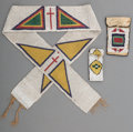 American Indian Art:Beadwork and Quillwork, Three Plains / Prairie Beaded Items. c. 1890... (Total: 3 Items)