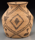 American Indian Art:Baskets, An Apache Coiled Storage Jar. c. 1910...