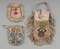 American Indian Art:Beadwork and Quillwork, Three Plains / Plateau / Northwest Coast Beaded Hide Pouches...(Total: 3 )