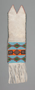 American Indian Art:Beadwork and Quillwork, A Plains Cree Beaded Hide Tobacco Bag...
