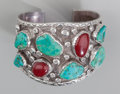 American Indian Art:Jewelry and Silverwork, A Navajo Silver and Stone Cuff Bracelet. Tom Willets...