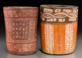Pre-Columbian:Ceramics, Two Maya Polychrome Cylinder Vases. c. 600 - 800 AD... (Total: 2Items)