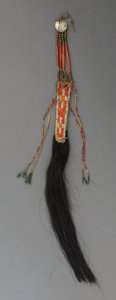 American Indian Art:Beadwork and Quillwork, A Sioux Quilled Hide Hair Ornament . c. 1875...
