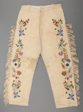 American Indian Art:Beadwork and Quillwork, A Pair of Santee Sioux Beaded and Fringed Hide Trousers. c. 1920...