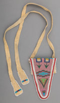 American Indian Art:Beadwork and Quillwork, A Flathead Beaded Buffalo Hide Belt Pouch. c. 1880...