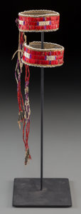 American Indian Art:Beadwork and Quillwork, A Pair of Sioux Quilled Hide Arm Bands . c. 1880... (Total: 2 )
