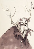 Animation Art:Concept Art, The Black Cauldron Horned King Concept Drawing by Tim Burton(Walt Disney, 1985)....