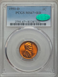 Lincoln Cents: , 1951-D 1C MS67+ Red PCGS. CAC. PCGS Population: (134/0 and 12/0+). NGC Census: (178/0 and 2/0+). Mintage 625,355,008. ...