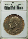 Eisenhower Dollars, 1974-S $1 Silver PR66 ANACS. (40% Silver). NGC Census: (25/147). PCGS Population: (134/293). Mintage 1,306,579....