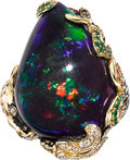Estate Jewelry:Rings, Black Opal, Diamond, Garnet, Gold Ring. ...