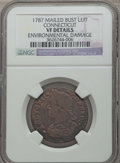 Colonials, 1787 COPPER Connecticut Copper, Mailed Bust Left -- Environmental Damage -- NGC Details. VF. NGC Census: (9/71). PCGS Popul...