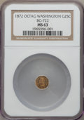 California Fractional Gold , 1872 25C Washington Octagonal 25 Cents, Baker-503, BG-722, MusanteGW-818, Low R.4, MS63 NGC....