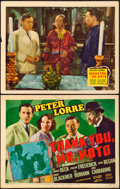 "Movie Posters:Mystery, Thank You, Mr. Moto (20th Century Fox, 1937). Title Lobby Card& Lobby Card (11"" X 14"").. ... (Total: 2 Items)"