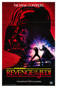"Revenge of the Jedi (20th Century Fox, 1982). One Sheet (27"" X 41"") Dated Advance, Drew Struzan Artwork &..."
