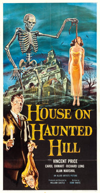 """House on Haunted Hill (Allied Artists, 1959). Three Sheet (41"""" X 79"""") Reynold Brown Artwork"""