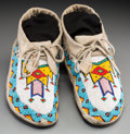 American Indian Art:Beadwork and Quillwork, A Pair of Cree Beaded Hide Moccasins. c. 1910. ... (Total: 2 Items)