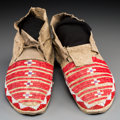 American Indian Art:Beadwork and Quillwork, A Pair of Sioux Beaded and Quilled Hide Moccasins. c. 1890...(Total: 2 Items)