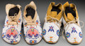 American Indian Art:Beadwork and Quillwork, Two Pairs of Cheyenne Beaded Hide Moccasins. c. 1920... (Total: 4Items)