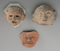 Pre-Columbian:Ceramics, Three Press-mold Heads... (Total: 3 Items)