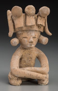 Pre-Columbian:Ceramics, A Teotihuacan Seated Figure with Elaborate Headdress...