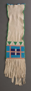 American Indian Art:Beadwork and Quillwork, A Contemporary Plains Beaded Hide Tobacco Bag...