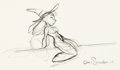 "Animation Art:Production Drawing, Chris Sanders ""Sanders Girl"" Witch Drawing (Walt Disney, 2003). ..."