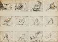 Animation Art:Production Drawing, Bambi Baby Chipmunk Storyboard Group of 2 (Walt Disney,1942).... (Total: 2 Original Art)