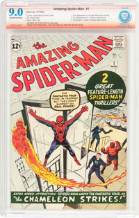 The Amazing Spider-Man #1 Stan Lee Verified Signature (Marvel, 1963) CBCS VF/NM 9.0 Off-white to white pages