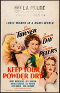 "Movie Posters:War, Keep Your Powder Dry & Others Lot (MGM, 1945). Window Card (14""X 22"") & Uncut Pressbooks (3) (Multiple Pages, 12.25"" X 15,""...(Total: 4 Items)"