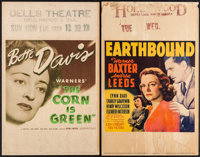 "The Corn Is Green & Other Lot (Warner Brothers, 1945). Window Cards (2) (14"" X 22"") & Uncut Pressbook..."