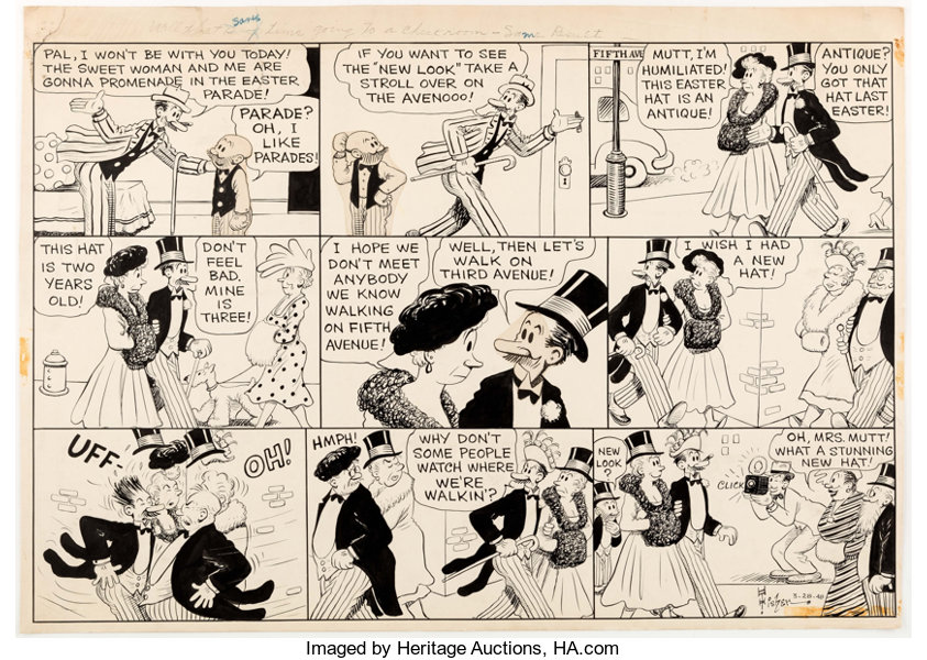Al Smith (Signing as Bud Fisher) Mutt and Jeff Sunday Comic